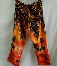Hottie Hawaiian Harem Pants Womens SZ L Tropical Print Swimsuit Cover Up Orange