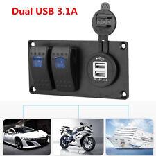 Car Truck 12/24V 2 Gang Led Rocker Switch Panel Circuit Breaker Dual USB Charger