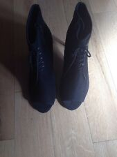 M&S New AUTOGRAPH INSOLIA Black Suede High Heel Shoe Boots 4 Ladies