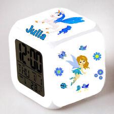 Reveil cube led lumière nuit clock licorne fée fille personnalisé prénom réf 27