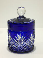 Boite à poudre poudrier en cristal de BACCARAT taillé Garniture 6073 Série F.264