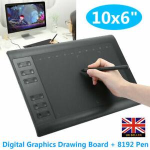 """10x6"""" Digital Graphics Drawing Tablet Artist Board Pad W/ 8192 Pen"""