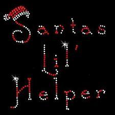 Rhinestone Transfer - Hot Fix Motif -  Santas Lil' Helper
