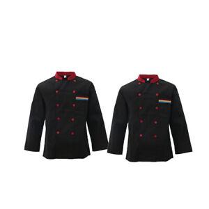 2Pcs Black L Jacket Long Sleeve Kichen Hotel Chef Uniform Work Wear