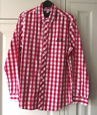"HOPE & GLORY DESIGNER SHIRT - RED & WHITE CHECK - SIZE M - 40"" CHEST"