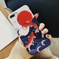 Lucky Koi Fish Phone Case Retro Design Soft Cover Shell for iPhone XR 6 7 XS MAX