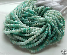 """13"""" shaded RUSSIAN AMAZONITE faceted gem stone rondelle beads 3.5mm - 4mm aqua"""