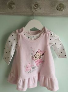 Baby Girls Pretty Minnie Mouse Pinafore Dress Outfit Size 3-6 Months Disney