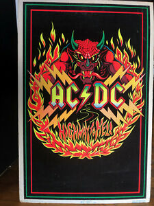 AC/DC Black Light Velvet Neon Poster 1983 Rock & Roll Music Highway to Hell Art