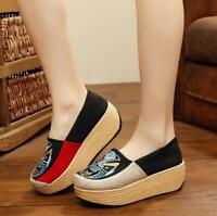 Womens Canvas High Wedge Heel Platform Slip On Loafers Casual Shoes Creepers New