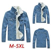 New Men's Winter Jeans Denim Fur Lined Trucker Jackets Warm Fleece Coats Outwear