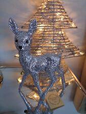 Ino Schaller Bayern Germany Christmas Silver Glitter Woodland Reindeer Deer New