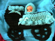 BABY BUGGY with removable CUPIE DOLL *OOAK Size 3 TURQ sweatshirt for a girl