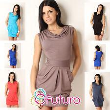 Sexy Women's Mini Dress With Pockets Sleeveless Cowl Neck Tunic Size 8-12 3509
