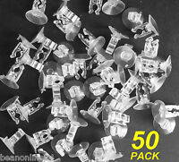 50 Pack Christmas Light Suction Caps with Clips