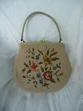 Vintage Needlework Floral Purse Handbag Leather Trim & Handle As Is multicolor