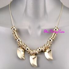 Brushed Satin Gold Tribal Horns Triple Tooth Tusks Claws Jungle Safari Necklace