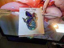 KIRKS FOLLY Limited Edition Glass Winged Echo Fairy Mermaid Pin/Enhancer (Gold