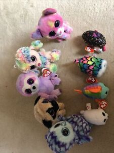Ty Soft Toy Bundle Of 9 Sloth, Poodle, Owl