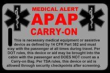 Lo-Viz Gray Carry-On APAP  Bag Tag - TSA - CPAP BiPAP APNEA POC