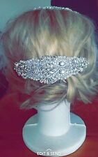 silver rhinestone bridal headpiece / fascinator