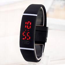 Gray Men/Women Sport LED Waterproof Rubber Bracelet Digital Date WristWatch