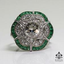 Antique Art Deco Platinum 1.89ct. Diamond & 1.3ct. Emerald Ring