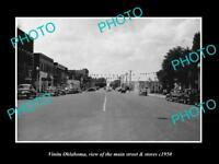 OLD LARGE HISTORIC PHOTO OF VINITA OKLAHOMA, THE MAIN STREET & STORES c1950