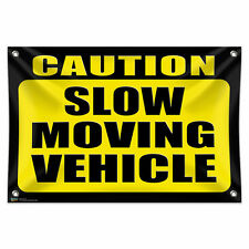 "Caution Slow Moving Vehicle 33"" x 22"" Mini Vinyl Flag Banner Wall Sign"