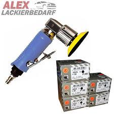 Mini Druckluft Excenterschleifer 75mm + 50 Indasa Schleifscheiben P80 bis P400