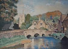 Quaint English Village Castle Coombe Large Watercolour GH Ernest 1964