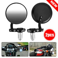 "Pair 7/8"" Motorcycle Handle Bar End Mirrors Motorbike Cafe Racer Rear Side View"