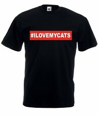 T-shirt Maglietta J2024 I Love My Cats Gatto Amore Animali