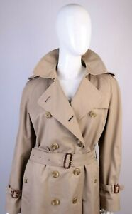 Women's Burberry Vintage Beige Double Breasted Belted Trench Coat Sz 12 Long W34