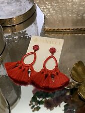 PANACEA Women's Statment Red Tassel Hoop Earrings NEW
