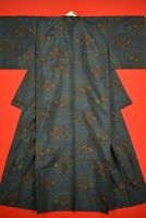 Vintage Japanese Silk Antique BORO KIMONO Kusakizome TSUMUGI Woven /YH69/775