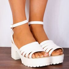 WHITE BLACK CLEATED PLATFORMS ANKLE STRAP WEDGED STRAPPY SANDALS SHOES SIZE