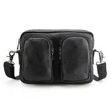 Men Shoulder Bag Waist bag Crossbody Bag Leather Bag Pocket Zipper Black Gift