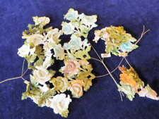 """Vtg Millinery Flower Collection Shabby Velvet 4""""  1 Sided Blue Green Brown H1987"""