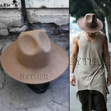 e712f934d80 Byther Modern Classic Wide Brim Wool Felt Chic Mountain Fedora Hat Beige UK  N
