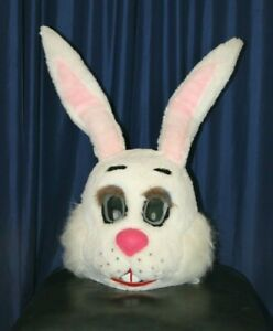 """Large Mascot Head Easter Bunny White Rabbit 27"""" Tall Former Rental Costume"""