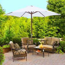 2.4m Garden Sun Parasol Wooden Patio Shade UV-Protection Umbrella Canopy Balcony