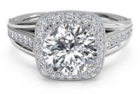 Real 14K Solid White Gold 2.48 ct Round Brilliant Halo Diamond Engagement Ring