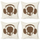 Ambesonne Music Cushion Cover Set of 4 for Couch and Bed in 4 Sizes
