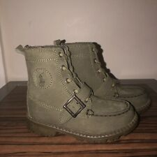 Infant Toddler Boys Green Leather POLO Ralph Lauren Boots sz 9 Logo Buckle NEW