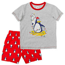 NWT Target Boys Penguin Christmas Summer Pyjamas Shorts Top T-Shirt Size 7