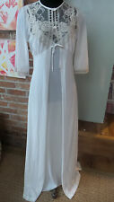 Vintage Lingerie / Nightgown & Robe White with Lace Accents by Mistee Size M
