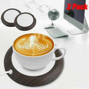 2PACK 80°C 5W USB Cup Mug Warmer Mat Coffee Tea Milk Heater Pad Office Home