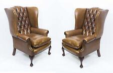 Paire cuir chippendale wing chaises fauteuils cognac