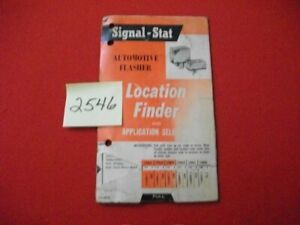 1965 SIGNAL-STAT FLASHER LOCATION FINDER & APPLICATION SELECTOR 4 DOMESTIC CARS